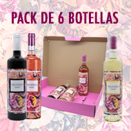 Pack de seis botellas de vino tinto rosado y blanco económico
